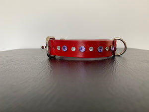 "Small Red Leather Collar ""Clear & Lt Purple Bling"" - Yum Treats Online"