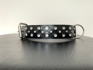 "Large Black Leather Collar ""Clear Bling"" - Yum Treats Online"