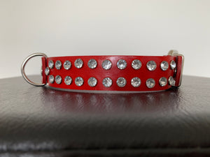 "Medium Red Leather Collar ""Clear Bling"" - Yum Dog Treats Online"