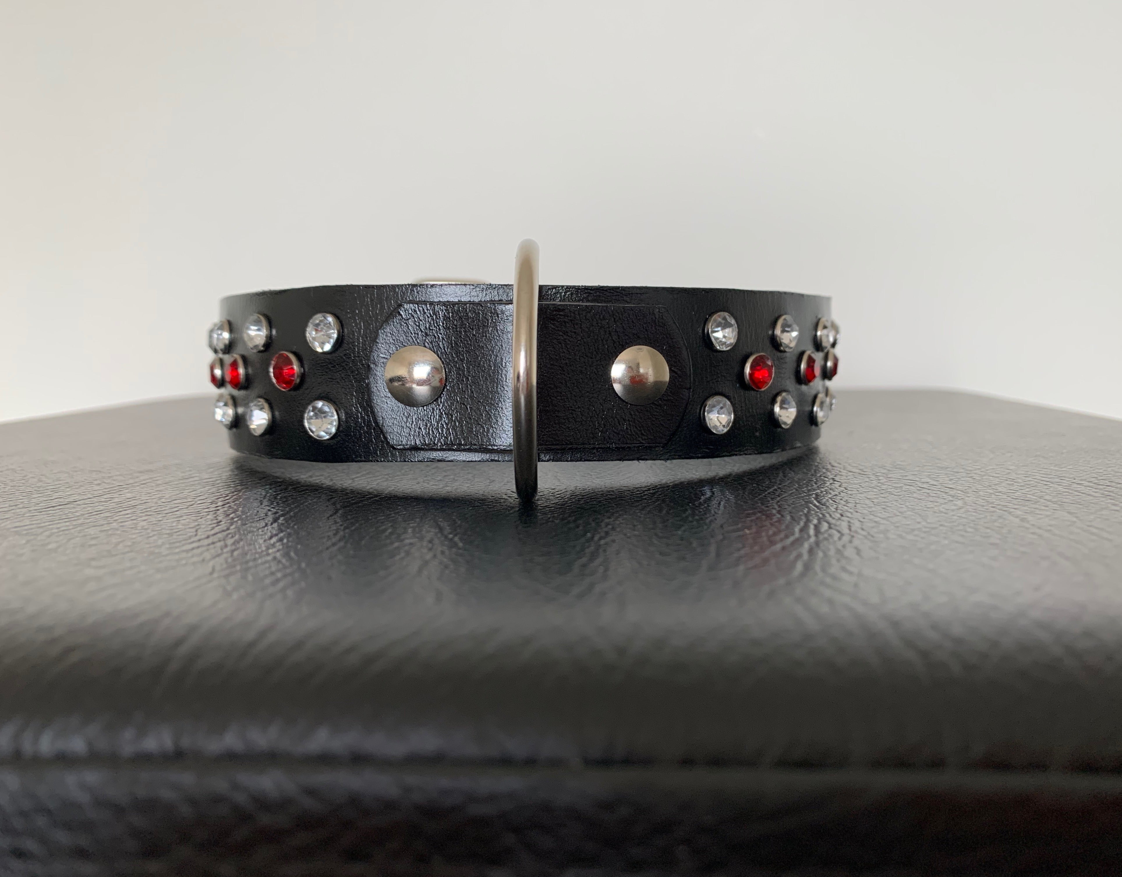 "Large Black Leather Collar ""Clear & Red Bling"" - Yum Treats Online"