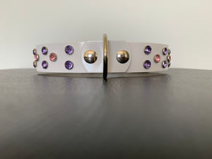 "Medium White Leather Collar ""Lt Purple & Lt Pink Bling"" - Yum Treats Online"
