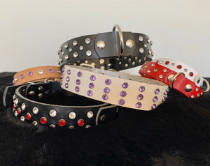 "Design Your Own Leather Collar ""Single Row Bling"" - Yum Dog Treats Online"