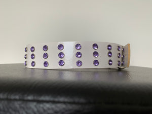 "Large White Leather Collar ""Lt Purple Bling"" - Yum Treats Online"