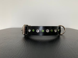 "Small Black Leather Collar ""Clear & Lt Green Bling"" - Yum Treats Online"
