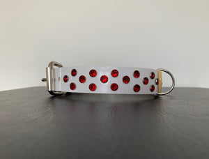 "Medium White Leather Collar ""Red Bling"" - Yum Treats Online"