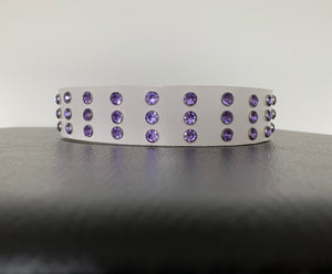 "Large White Leather Collar ""Lt Purple Bling"" - Yum Dog Treats Online"