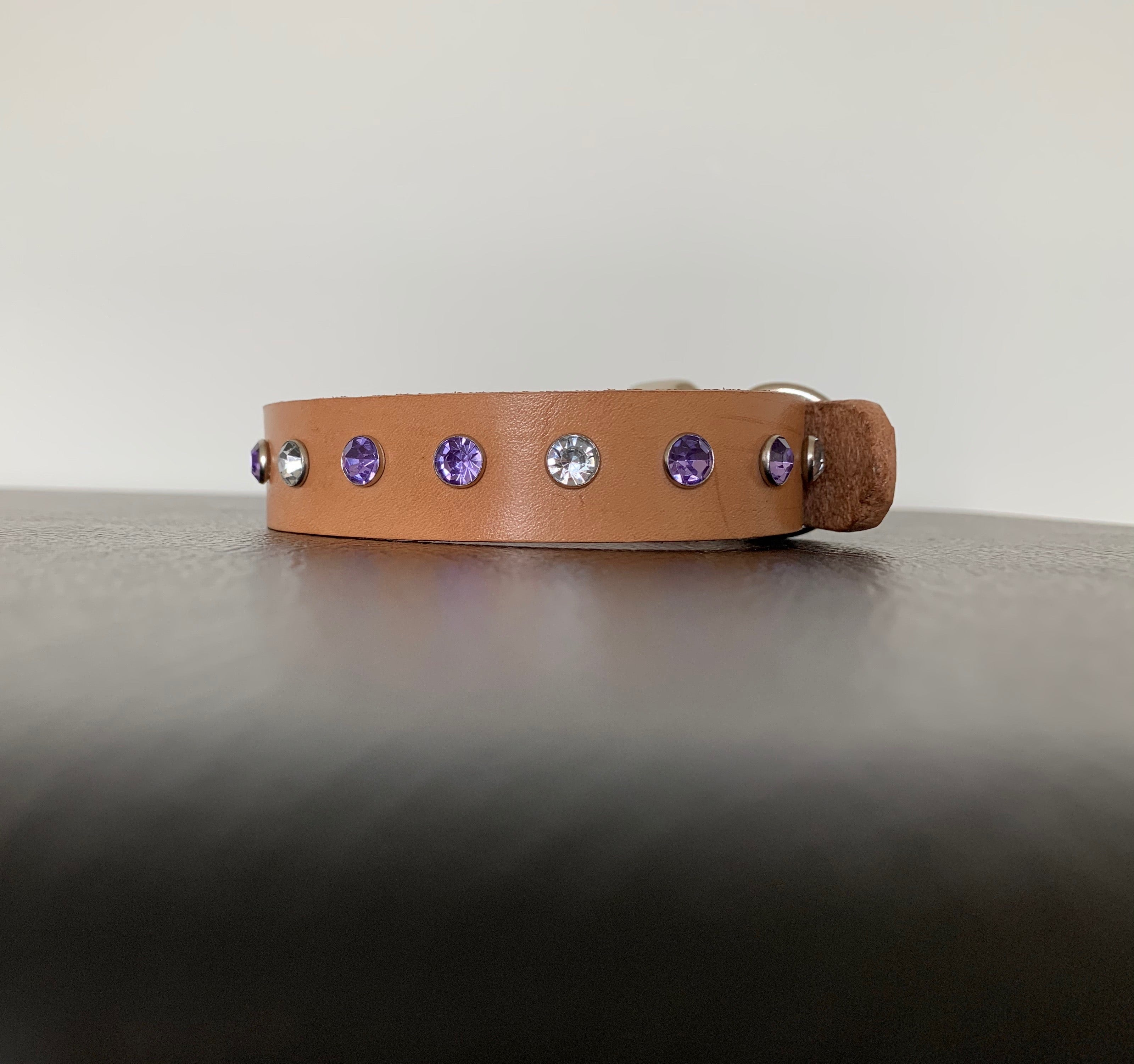 "Small Tan Leather Collar ""Clear & Lt Purple Bling"" - Yum Dog Treats Online"