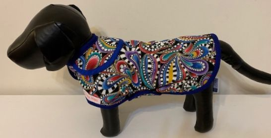 """Paisley Coloured Print"" Dog Coat - Yum Treats Online"