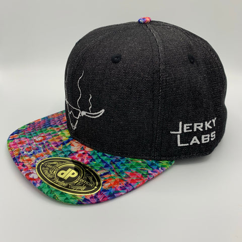 Denim/Floral Triangle Snap Back