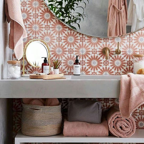 Tiles Cretalia Dusty Pink-Hand made cement tiles-sturdy and durable