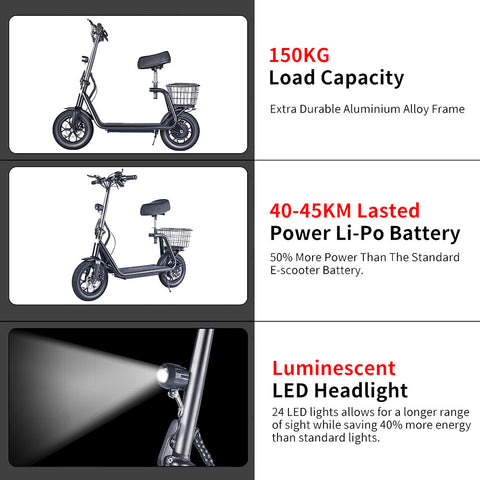 Electric Foldable Scooter with Seat 150kg load capacity