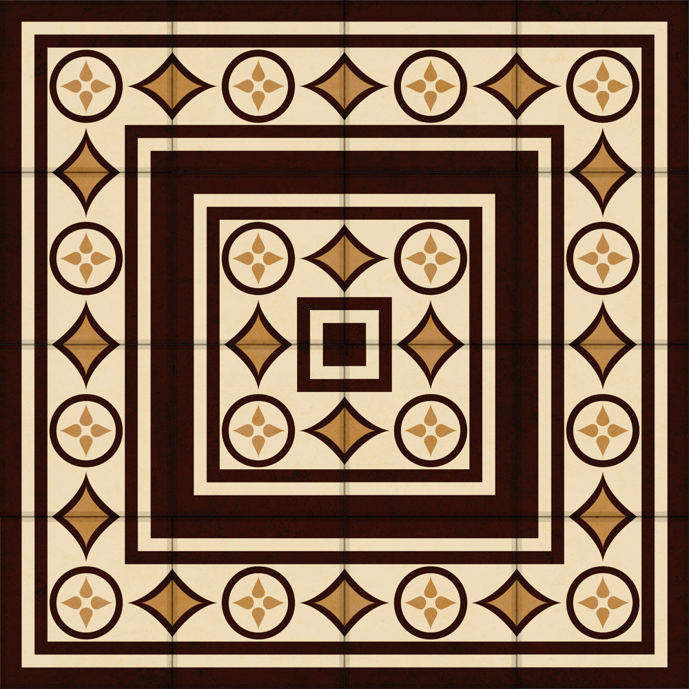Handmade tiles-Neoclassical dynamic designation-Strong hues in oak brown color