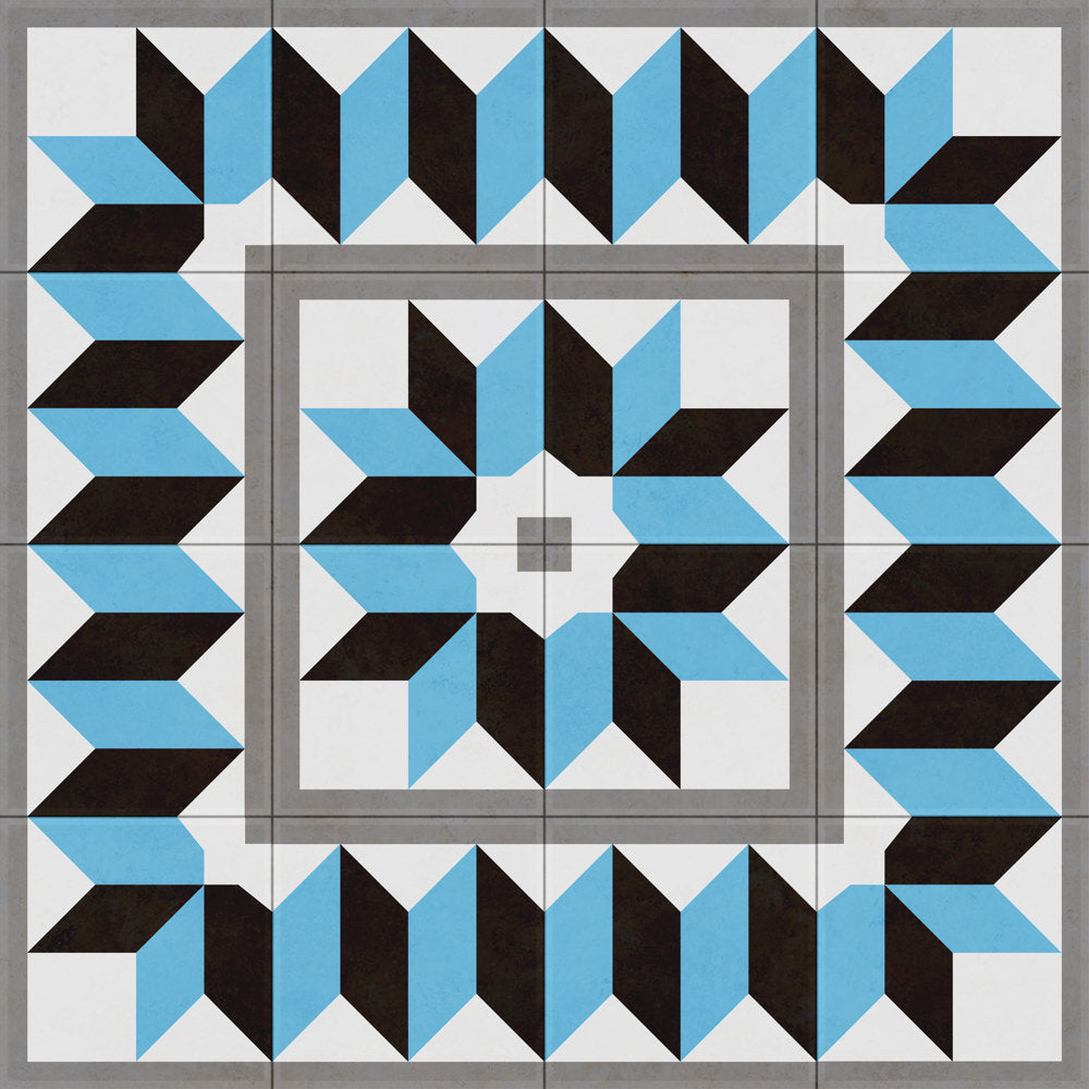 the charming process of laying tiles and playing with patterns to form a 3D visual effect.