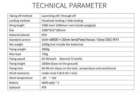 New Drone UAV aerial Survey Mapping-Parachute Landing Technical Parameters