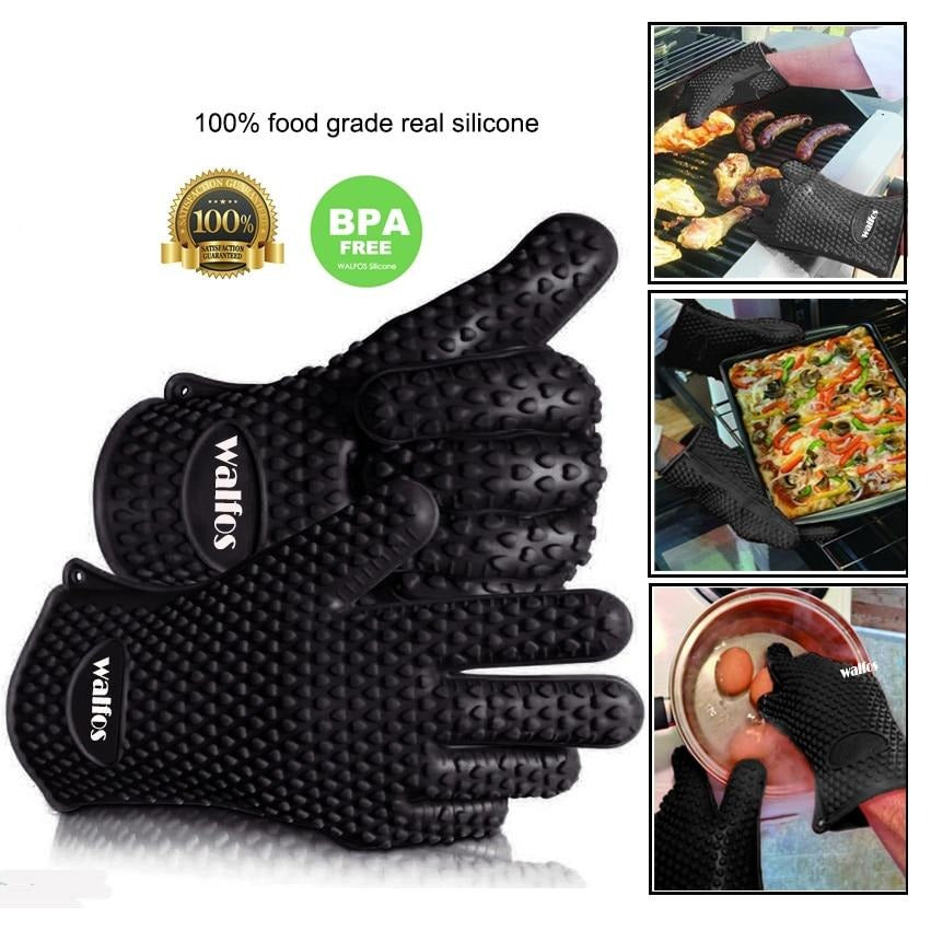 Thick Silicone BBQ Grill Glove-Heat Resistant
