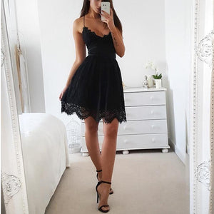 Women's Sexy Sleeveless Lace Skater Dress