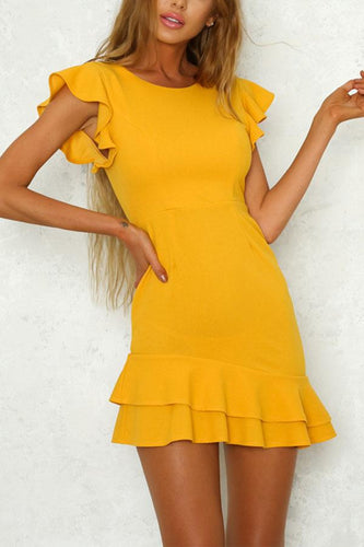 Yellow Elegant Lotus Leaf Sleeves Mini Dress