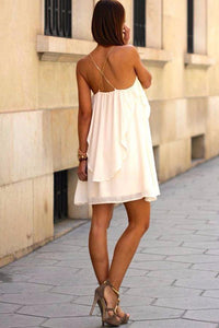 White Sweet Fashion Sleeveless Casual Dress