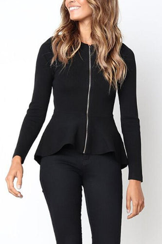 Zipper  Cascading Ruffles  Plain Jackets