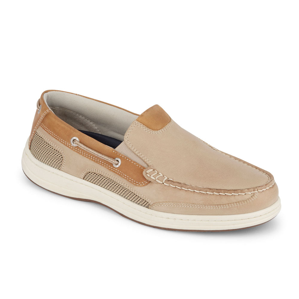 Taupe-Dockers Mens Tiller Leather Casual Slip-on Loafer Boat Shoe with NeverWet