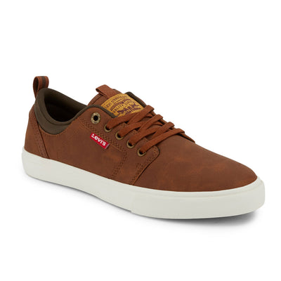 Tan/Brown-Levi's Mens Alpine Waxed UL NB BT Synthetic Leather Casual Lace-up Sneaker Shoe