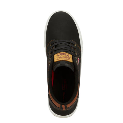 Black/Tan-Levi's Mens Alpine Waxed UL NB BT Synthetic Leather Casual Lace-up Sneaker Shoe