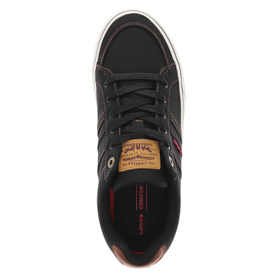Black-Levi's Mens Turner Durable Tumbled Canvas Lace-up Casual Skate Sneaker Shoe