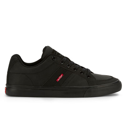 Black/Black-Levi's Mens Turner Tumbled Wax Synthetic Nubuck Lace-up Casual Sneaker Shoe