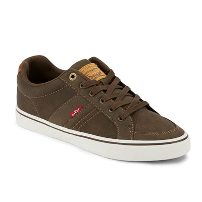 Brown/Tan-Levi's Mens Turner Tumbled Wax Synthetic Nubuck Lace-up Casual Sneaker Shoe