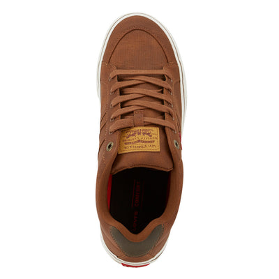 Tan/Brown-Levi's Mens Turner Tumbled Wax Synthetic Nubuck Lace-up Casual Sneaker Shoe