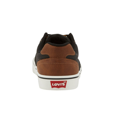 Black/Tan-Levi's Mens Miles Tumbled Wx Synthetic Leather Casual Lace-up Sneaker Shoe