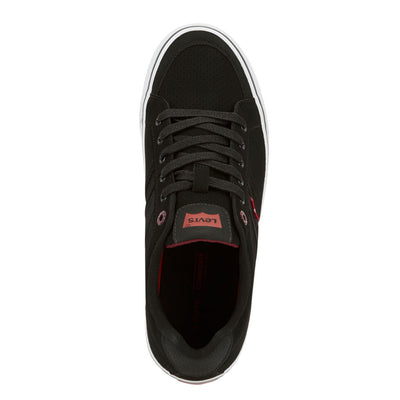 Black/Burgundy-Levi's Mens Turner Pin Perf Synthetic Leather Lace-up Casual Sneaker Shoe