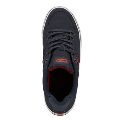 Navy/Burgundy-Levi's Mens Turner Pin Perf Synthetic Leather Lace-up Casual Sneaker Shoe