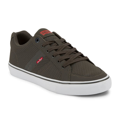 Charcoal/Navy-Levi's Mens Turner Pin Perf Synthetic Leather Lace-up Casual Sneaker Shoe