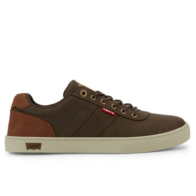 Brown/Tan-Levi's Mens Beaumont WX C Synthetic Leather Casual Lace-up Sneaker Shoe