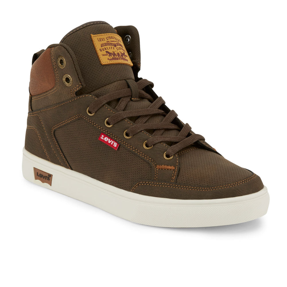 Brown/Tan-Levi's Mens Walker WX Synthetic Leather Casual Lace-up Sneaker Boot