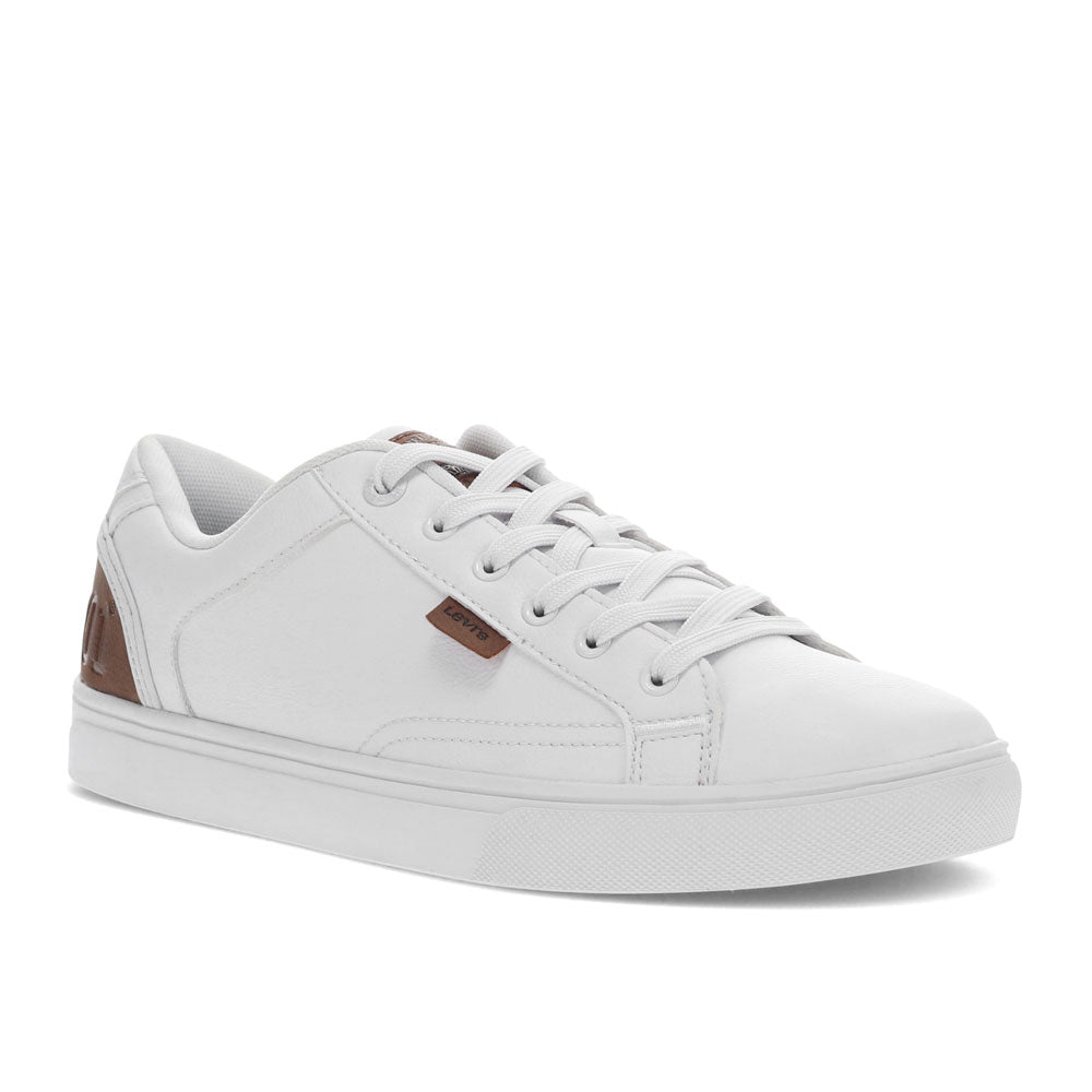 White/Tan-Levi's Mens Jeffrey 501 Tumbled UL Casual Vegan Sythetic Leather Sneaker Shoe