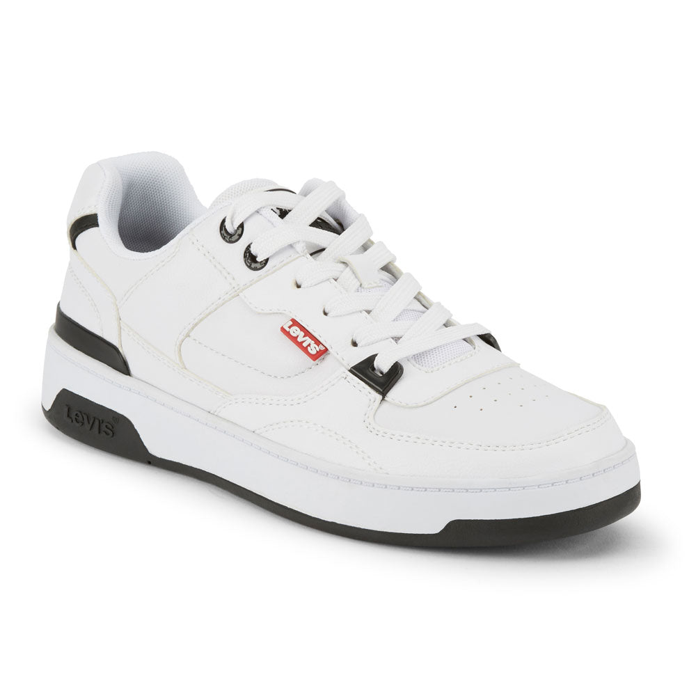 White/Black-Levi's Mens 521 Mod Lo Pebbled UL Synthetic Leather Lowtop Sneaker Boot Shoe
