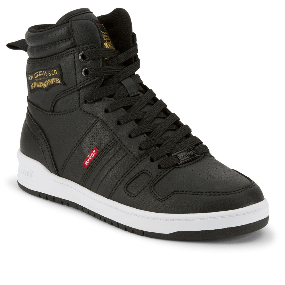 Black-Levi's Womens 521 BB Hi Perf UL Casual Vegan Leather Hightop Sneaker Shoe