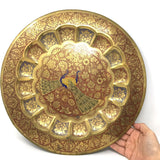 Brass Hand-painted Peacocks Wall Hanging Colorful Decorative Tray Platter 15""