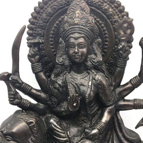 Vintage Brass India Goddess Mother Durga Devi Murthi Statue Hand-made 15.75""