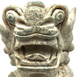 Solid Stone Carved Chinese Fengshui Foo Fu Dog Guardion Door Lions Statues 9""