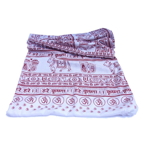 Pure White Large Meditation Yoga Prayer Shawl - Maha Mantra Shawl