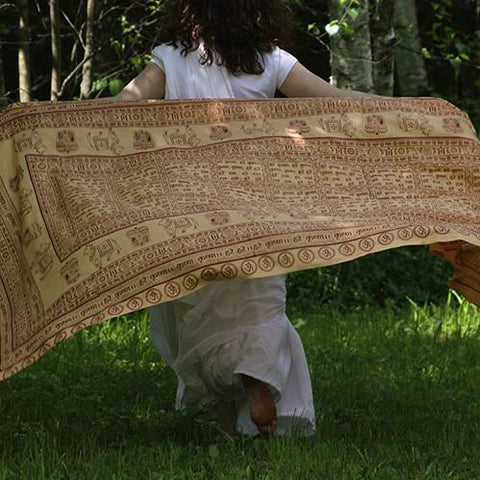 Primerose Peach Large Meditation Yoga Prayer Shawl - Maha Mantra Shawl