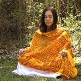 Flame Yellow Large Meditation Yoga Prayer Shawl - Maha Mantra Shawl