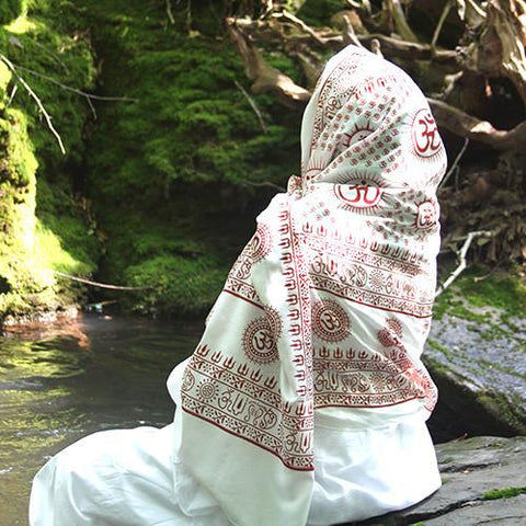 Pure White Large Meditation Yoga Prayer Shawl - Mantra Om Aum Shawl
