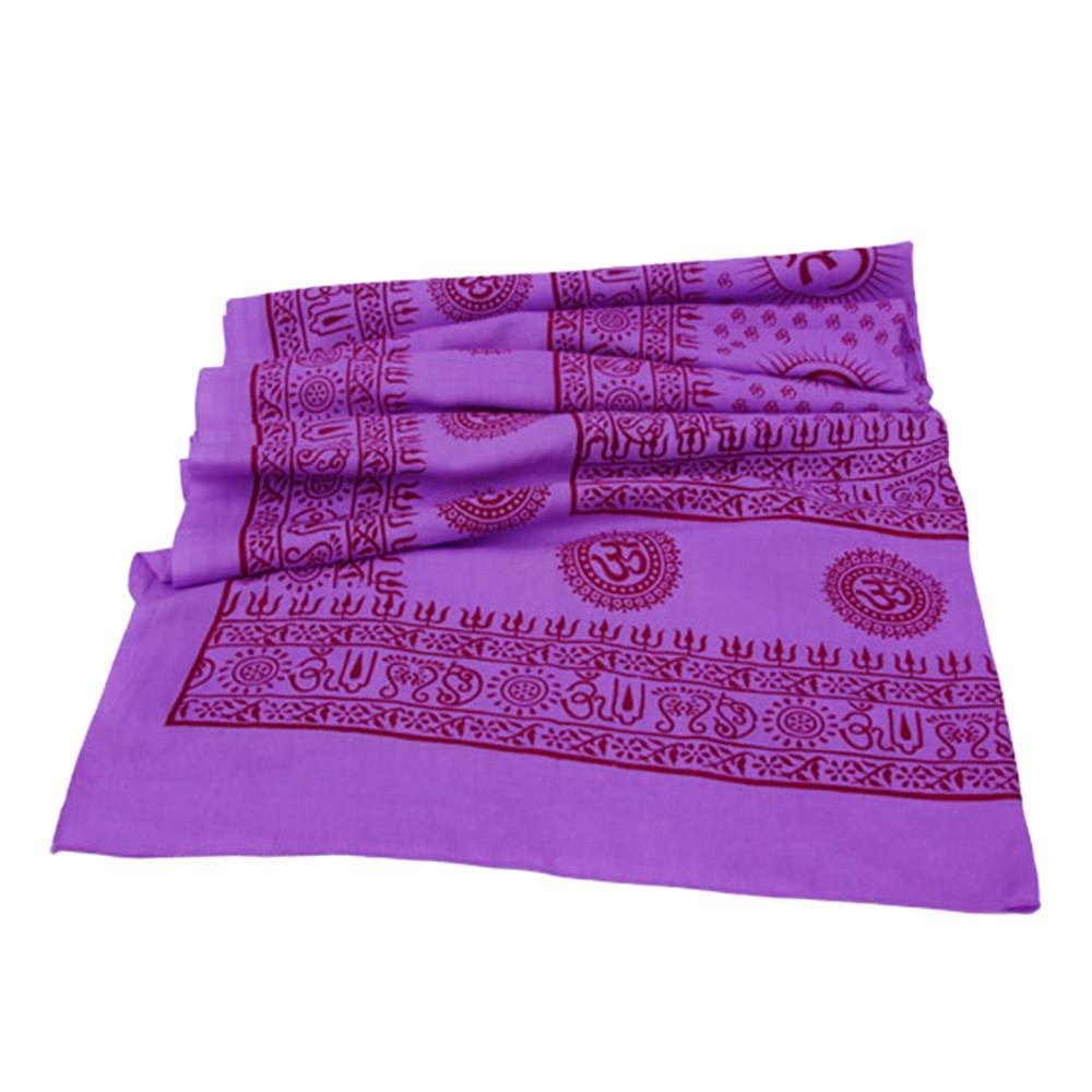 Aum Purple Shawl Large Meditation Yoga Prayer Shawl - Mantra Om Shawl