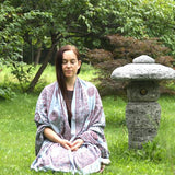 Pearl Gray Large Meditation Yoga Prayer Shawl - Mantra Om Aum Shawl