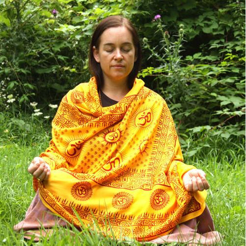 Flame Yellow Large Meditation Yoga Prayer Shawl - Mantra Om Aum Shawl