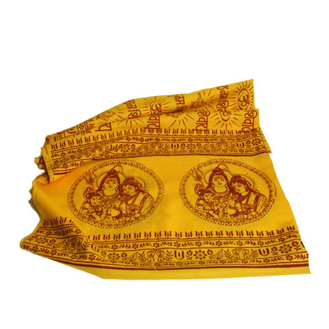 Flame Yellow Large Meditation Yoga Prayer Shawl - Shiva Parvati Ganesh Shawl